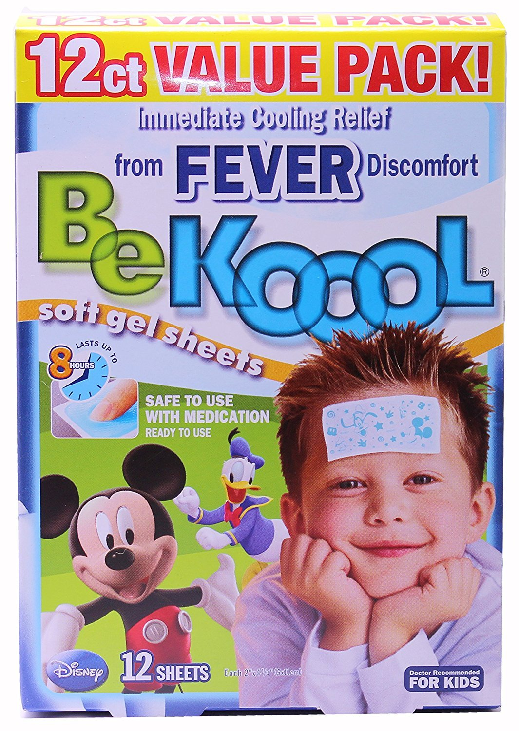 Be Koool Fever Soft Gel Sheets For Kids, Immediate Cooling Relief from Fever Discomfort, 12 Sheets by BeKoool