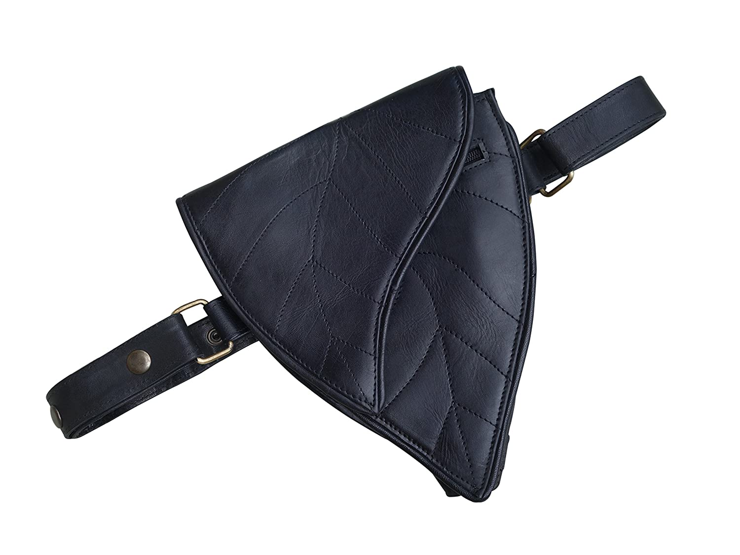 cosplay hip bag 3 Pocket Taupe Leather Utility Belt festival fits iPhone and passport travel Leaf