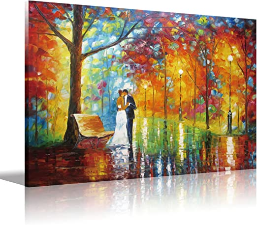 """Oil Painting A Gentle Kiss Lovers  16""""x20/"""" Wall Decor Art Canvas Print"""