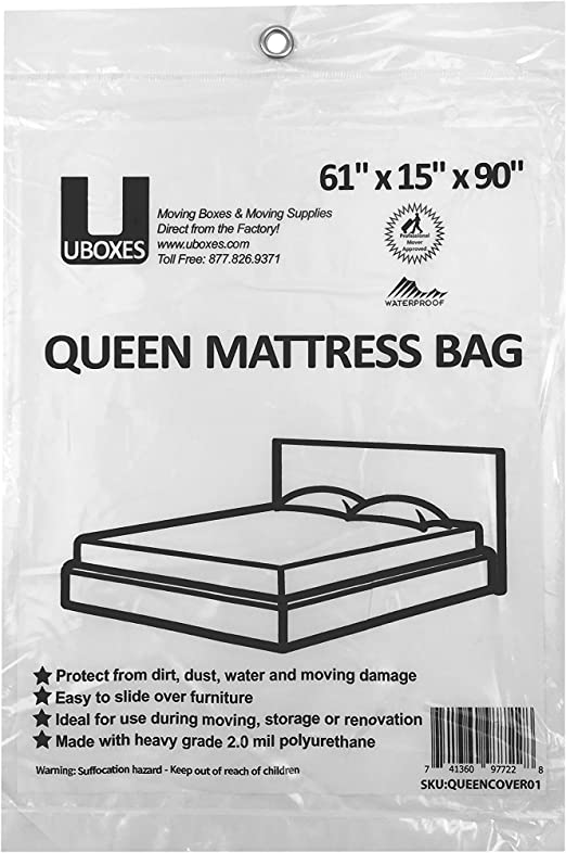 1 Grip and Carry Tote Thick 4 Mil Heavy Duty Full Mattress Bags//Covers