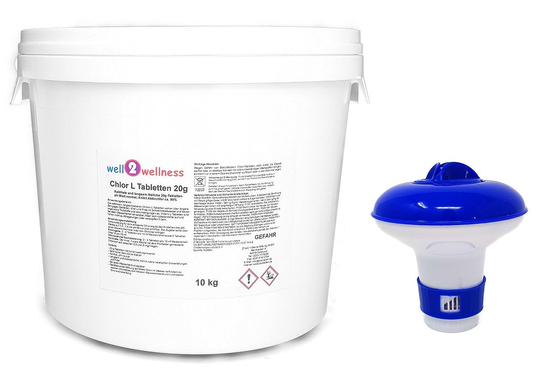 well2wellness Langsam l/ösliche Chlortabletten Chlor L Tabletten a 200g mit 90/% Aktivchlor 10kg 2 x 5kg