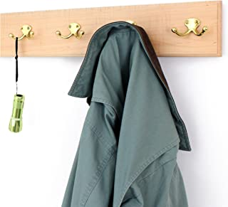 "product image for Maple Coat Rack with Solid Brass Dual Style Hooks 4.5"" Ultra-Wide (Natural, 36"" x 4.5"" with 7 Hooks)"