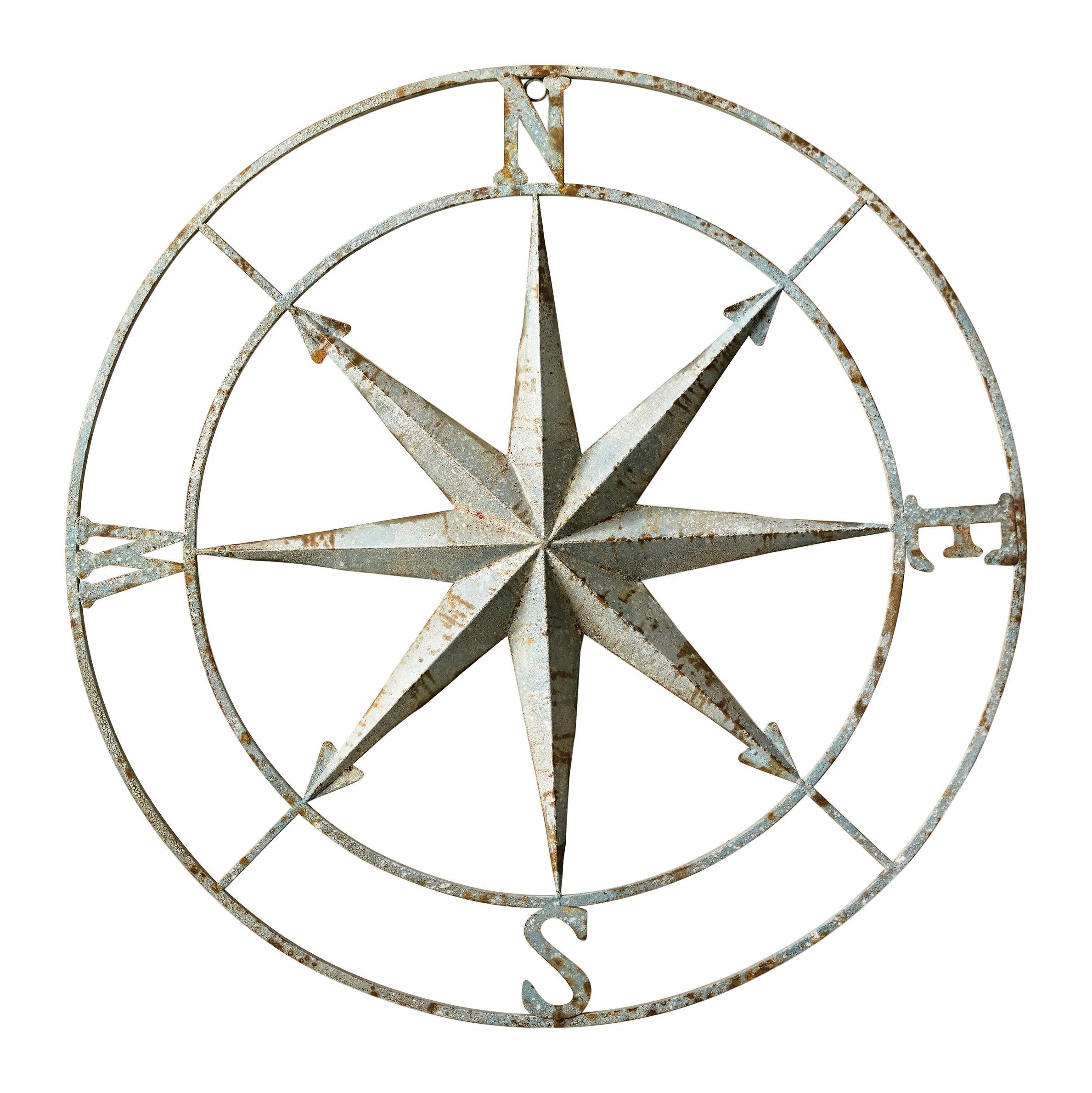 Creative Co-Op DA6886 Distressed Aqua Metal Compass Wall Decor