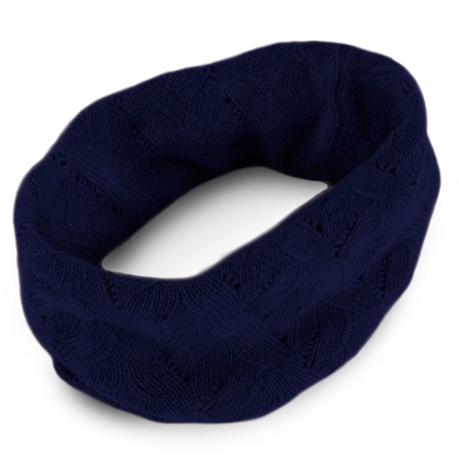 Ladies 100% Cashmere Infinity Scarf Snood - Black - hand made in Scotland by Love Cashmere LC041_black