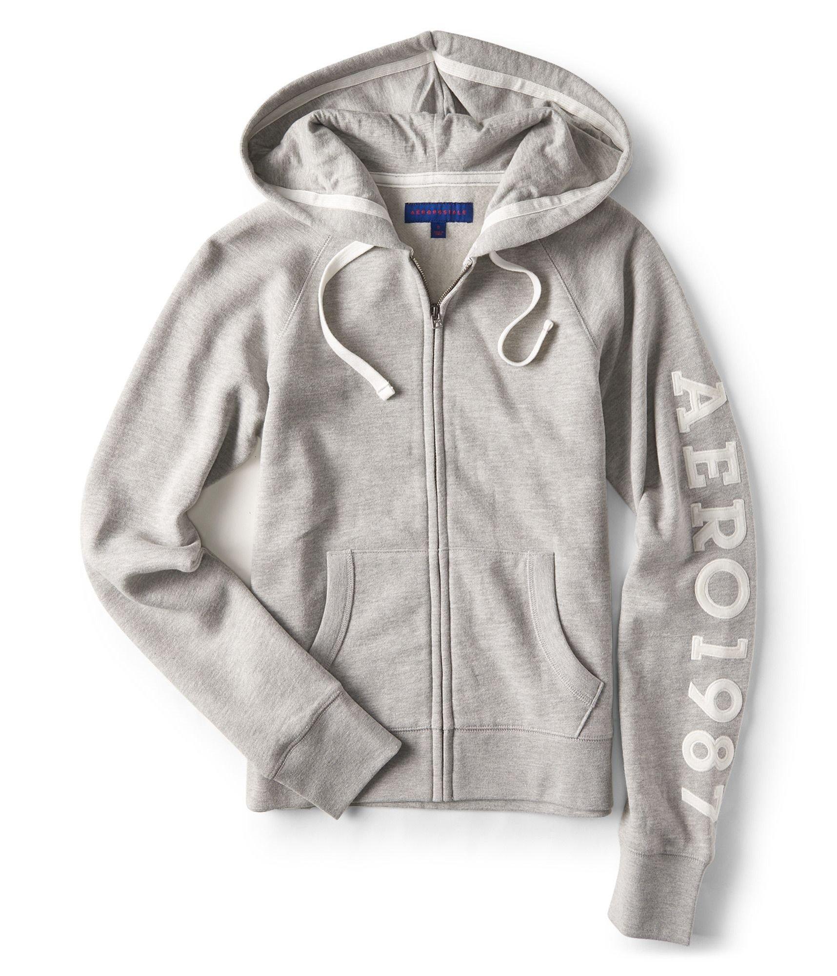 Aeropostale Womens 1987 Hoodie Sweatshirt Grey L - Juniors