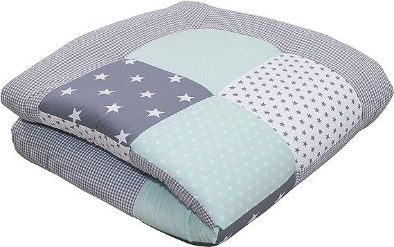 manta para beb/é de 100/x/100 cm; ideal como colcha para el cochecito; apta como alfombra de juegos Alfombra para gatear de ULLENBOOM /® con estrellas azules