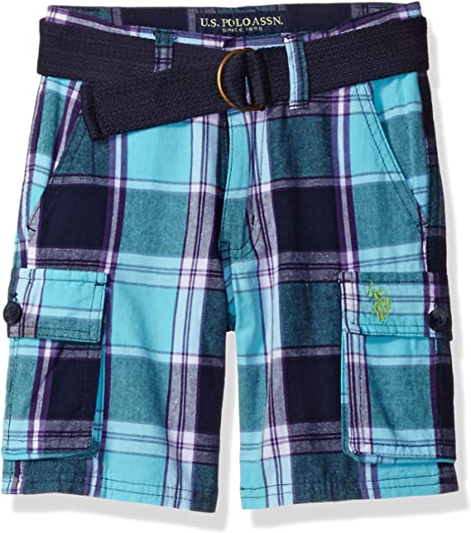 Boys Big Belted Patchwork Childrens Apparel U.S US Polo Assn