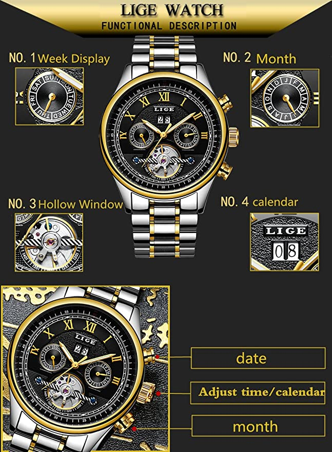Amazon.com: Luxury Brand LIGE Fashion Business Automatic machinery Watches Men Full Steel Waterproof Watch Man Clock relogio masculino 30 (silver white): ...
