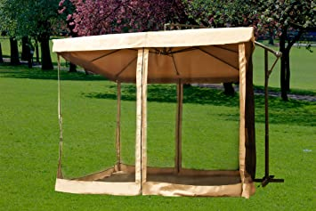 New Tan Instant Gazebo Offset Patio Umbrella W/ Mesh