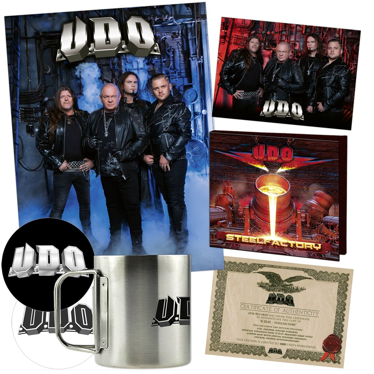 CD : U.D.O. - Steelfactory (Limited Edition, Boxed Set, Poster, Stickers, Autographed / Star Signed)