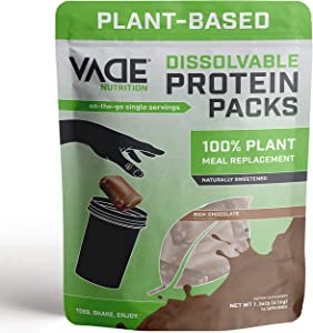 Vade Nutrition Dissolvable Plant-Based Meal Replacement Packs | Chocolate | On-The-Go, 100% Vegan, 26 Vitamins & Minerals, 10 Superfoods, Lactose Free, Gluten Free, No Sugar Added, Lean, 14 Servings
