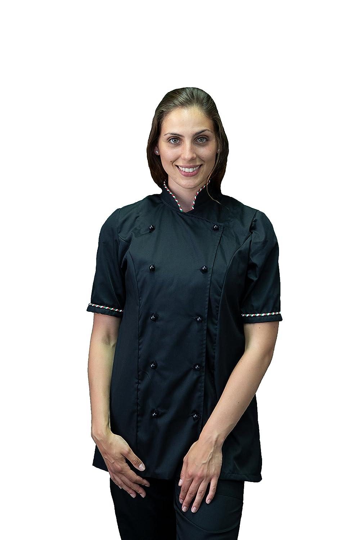 Divisa Cuoco Chef Donna Manica Corta Made in Italy tessile astorino Completo Pantalone Giacca e davantino Nero e Tricolore