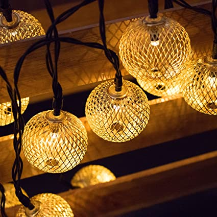 Bon Easternstar Solar LED Metal Iron Lanterns String Lights,Fatheru0027s Day Gift  Indoor/ Outdoor 20