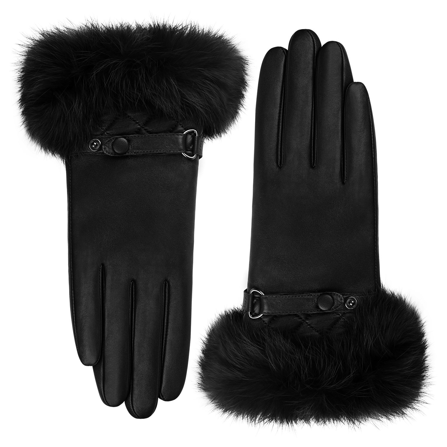 GSG Womens Luxury Italian Genuine Nappa Leather Gloves Fashion Fur Trim Full Palm Touchscreen Winter Warm Gloves Black 8.5 by GSG (Image #4)