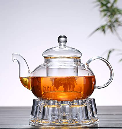 Transparent Crystal Glass Teapot Warmer Heat Resistant Tea Kettle Pot Warmer