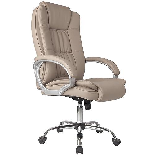 VS Venta-stock Chaise de Bureau Confort 2 Elevable et Fauteuil inclinable en Simili Cuir Taupe