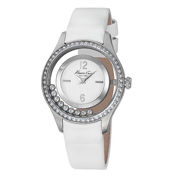 Kenneth Cole IKC2881 - Reloj con correa de caucho para mujer, color plateado/gris