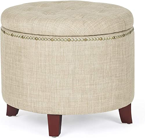 Homebeez Round Storage Ottoman Button-Tufted Fabric Footstool