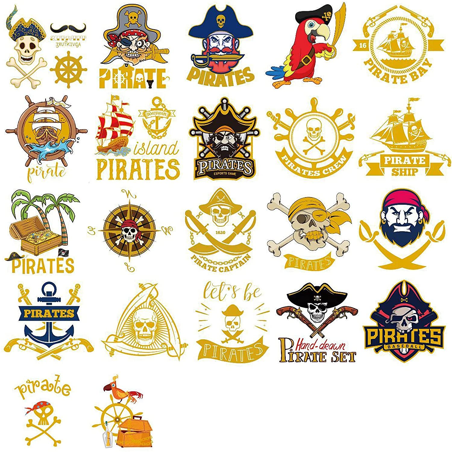 Ooopsiun Glitter Pirate Temporary Tattoos for Kids ,Pirate Theme for Boys and Girls Birthday Party Supplies, Summer Pool Party, Beach Party Favors + Tropical Decor