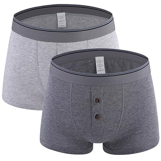 25e1550601c5 Kuilleckt 2 Pack Button Fly Boxer Briefs Soft Cotton Underwear Stretch No  Ride up (b2432A