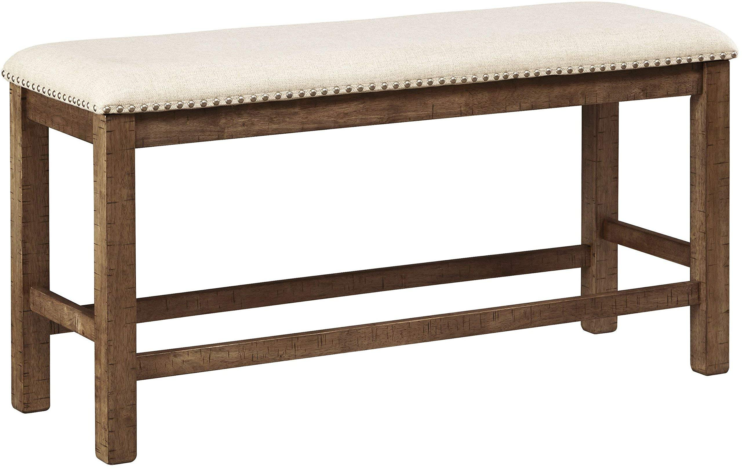Ashley Furniture Signature Design - Moriville Counter Height Dining Room Bench - Grayish Brown by Signature Design by Ashley