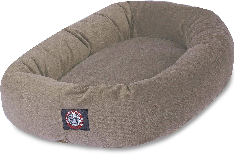 Majestic Pet 32-Inch Chocolate Micro-Velvet Bagel Dog Bed