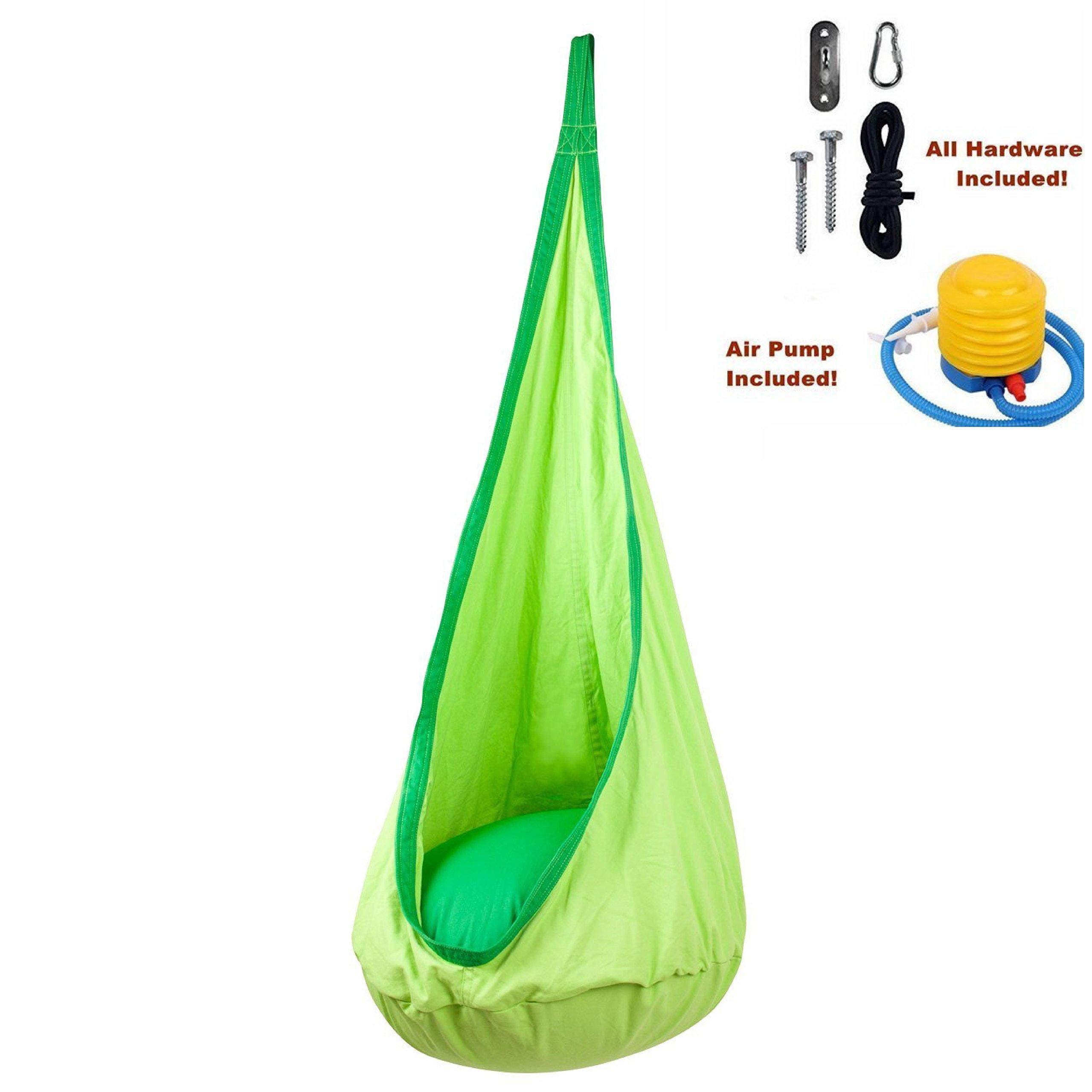 Hanging Hammock Pod Kids Swing/Outdoor and Indoor Children's Hammock Chair Nook Nest Sensory Seat Swing - All Hardware Included (Green)
