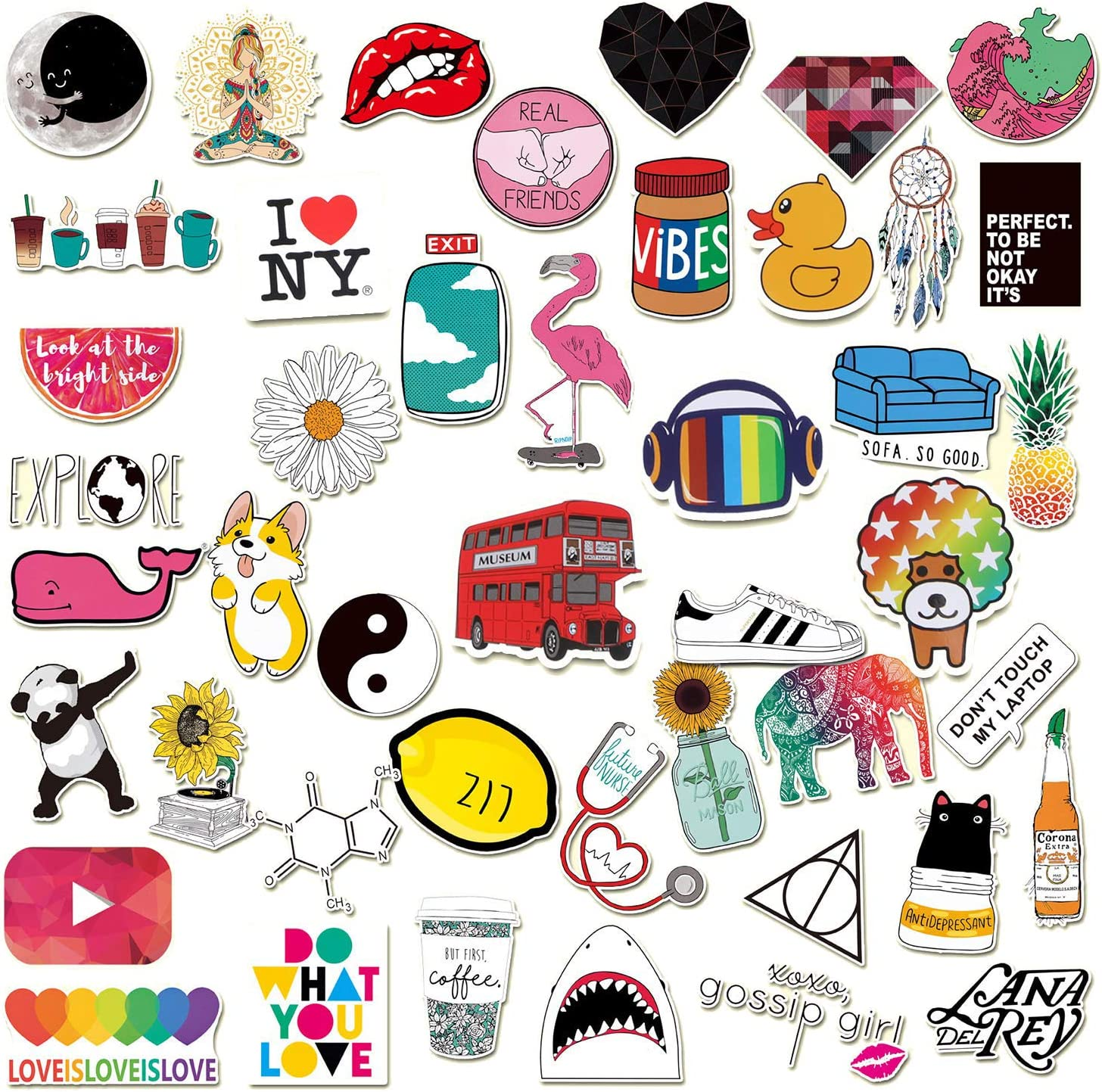 46Pcs-Cute Laptop Stickers,Cartoon Waterproof Vinyl Water Bottle Computer Notebook Car Skateboard Motorcycle Bicycle Luggage Guitar Bike Decal