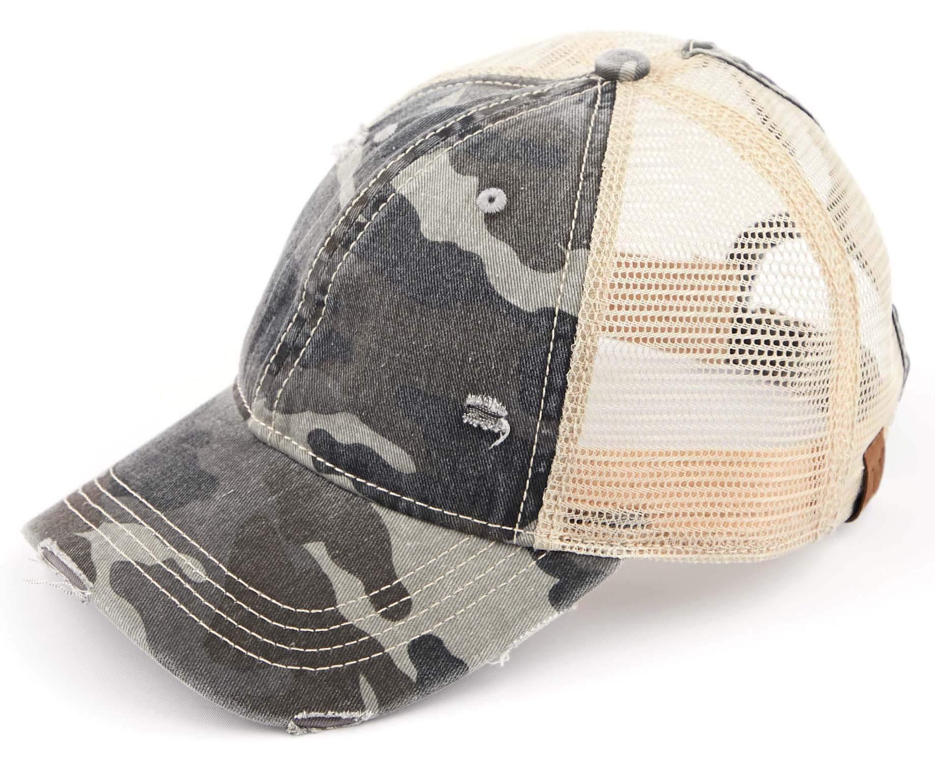 H-6140-914-0684 Distressed Trucker Hat - Black Camo/Beige Mesh