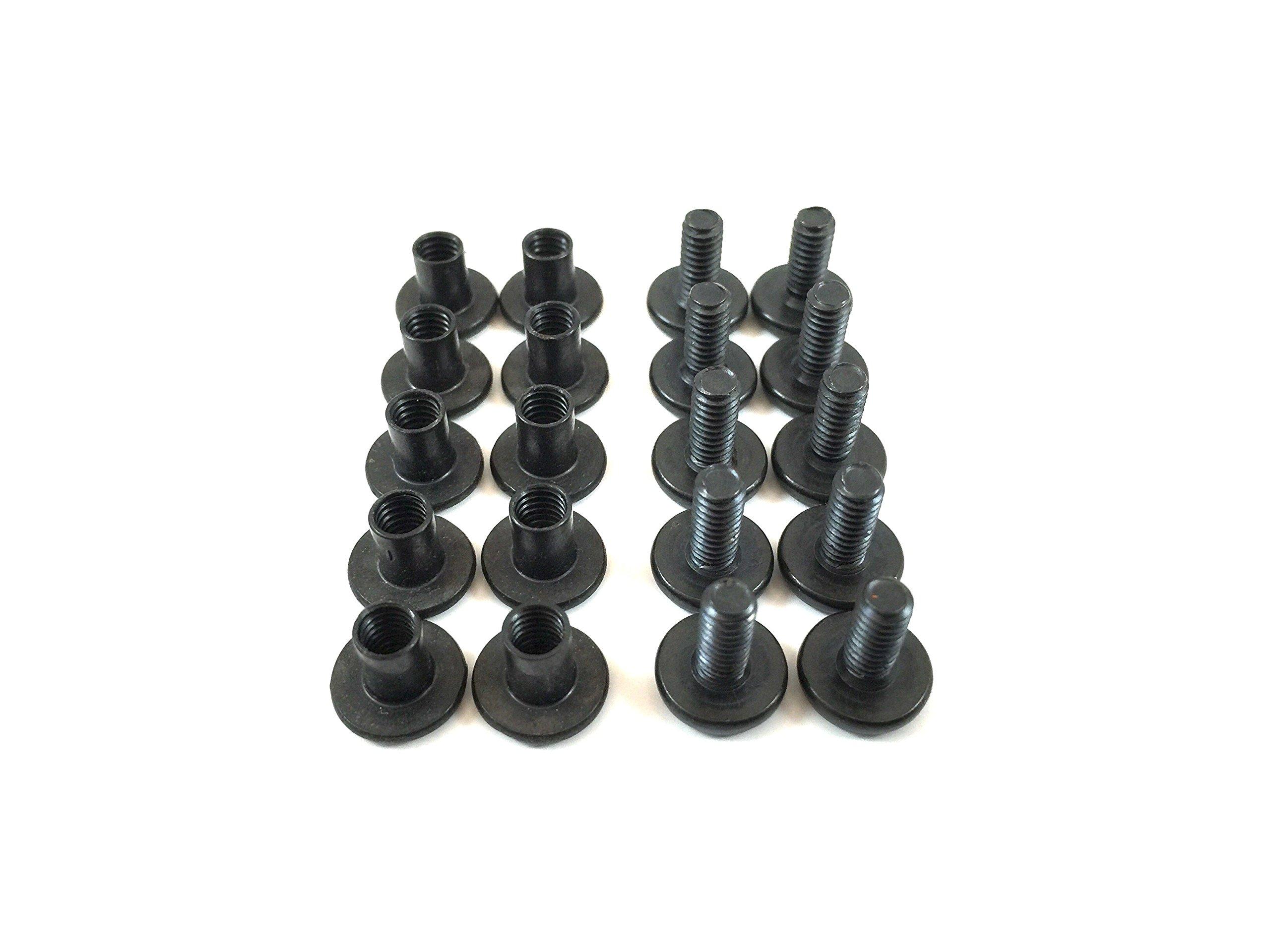 Gun Guy Gear Holster Screws - Chicago Screws - Leathercraft - Black Finish - 10 Pk (1/4'' - Two 10 Packs)