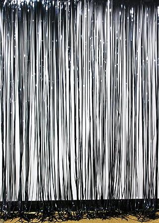 Amazon.com: Langxun 3 ft x 8 ft Black Foil Fringe Curtains | Photo ...