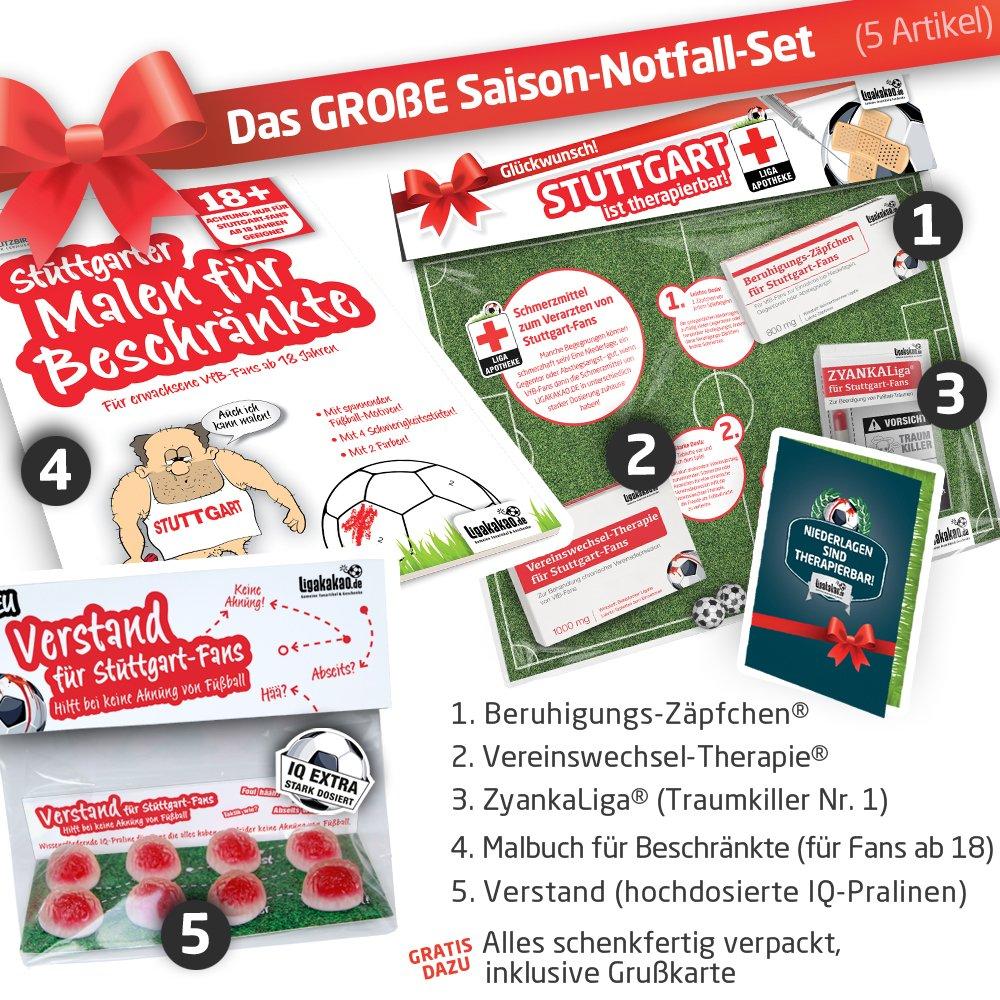 Geschenk-Set: Das groß e Saison-Notfall-Set fü r VfB Stuttgart-Fans | 5X Ü berraschungen mit Spaß garantie fü r VfB Stuttgart Fans Fanartikel f. Mä nner ALS Pantoffel, Hausschuhe, Caps Ligakakao.de