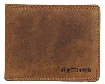 11d39d70302cf Hill Burry Herren Echt-Leder Geldbörse Portemonnaie Brieftasche Portmonee  Geldbeutel Kredit-Kartenetui Wallet Vintage