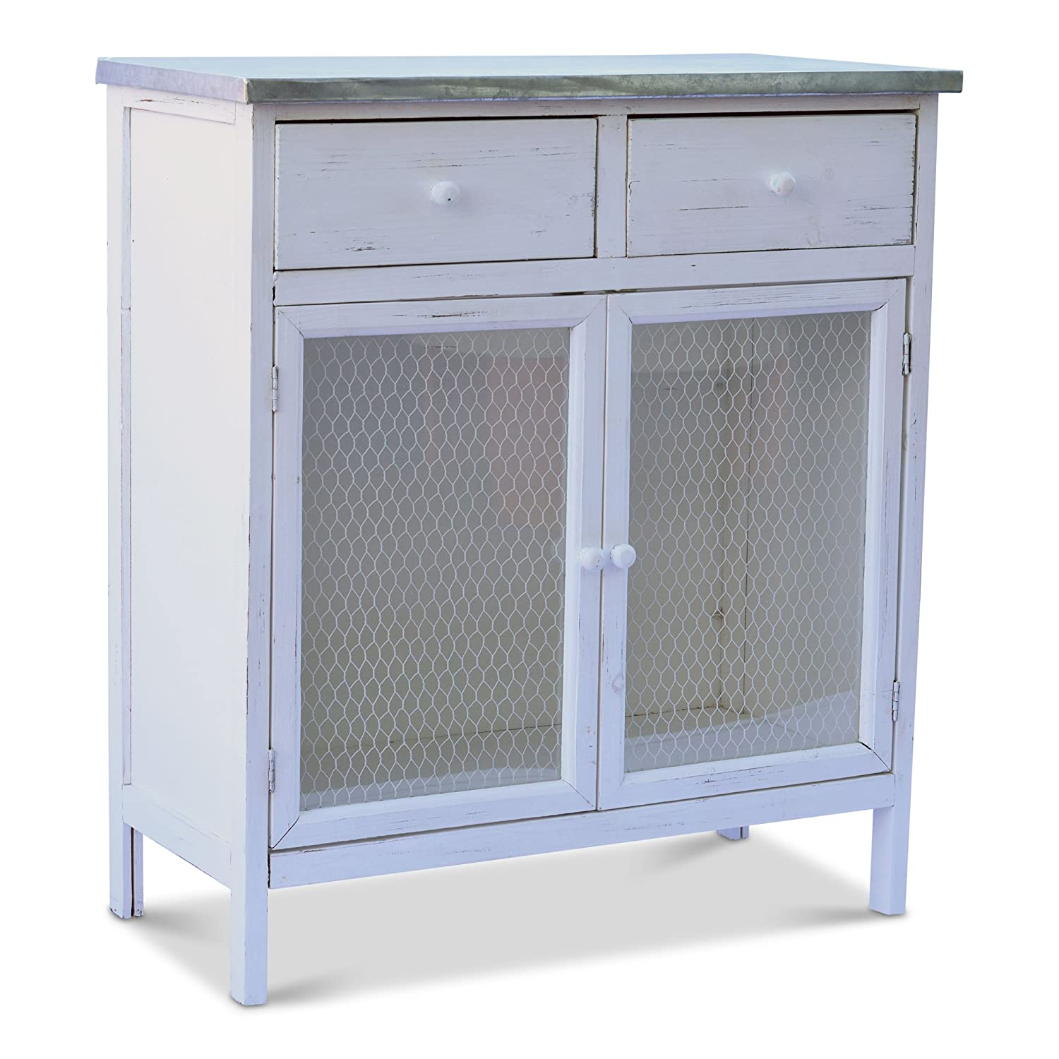 Distressed Rustic Finish Galvanized Metal Chicken Wire 2 Drawers Farmers Market Shabby Commode Cabinet White Stained Sustainable Wood 29 1//2 L x 13 3//4 W x 32 3//4 H Inches Whole House Worlds 55.46