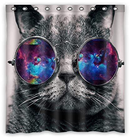 Space Cat Water Proof Polyester Fabric 66quot X 72quot Shower Curtain