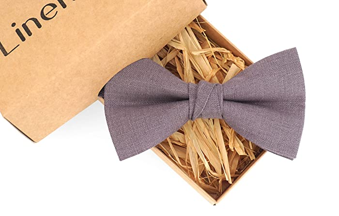31087e86d4148 Amazon.com: Lilac grey linen groomsmen bow ties for wedding and ring ...