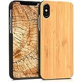 kwmobile Custodia in legno per Apple iPhone X Cover rigida - Protezione per cellulare Case bambù marrone chiaro