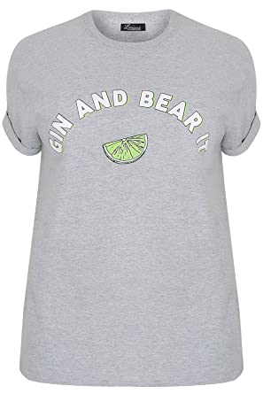 40fa6ad9802 Yours Clothing Women s Plus Size Limited Collection Gin   Bear It Jersey Top  Size ...