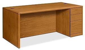 HON 10787RCC 10700 Single Pedestal Desk Full Right Pedestal 72w x 36d x 29 1/2h Harvest, Harvest