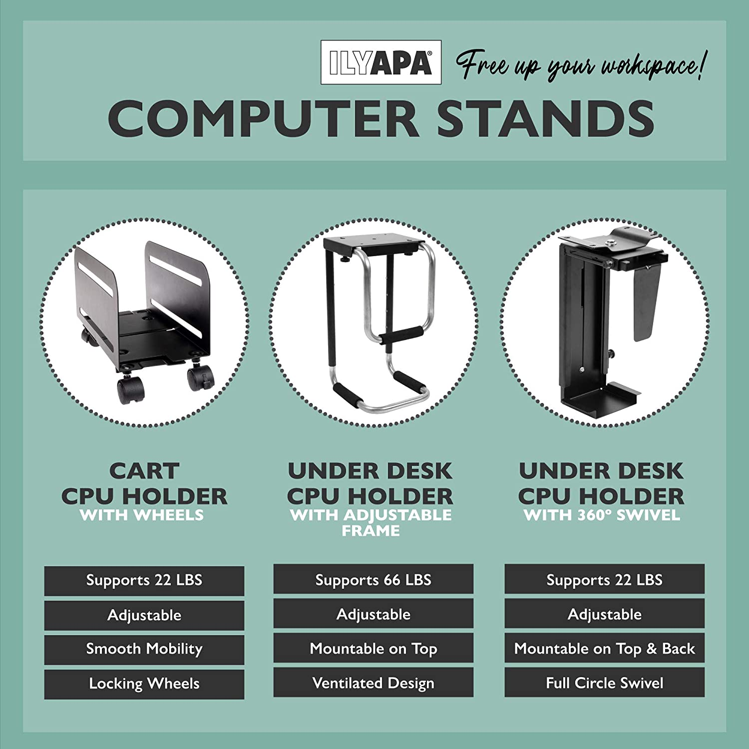 PC Computer Tower Stand with Wheels Mobile CPU Holder Cart for Desktop