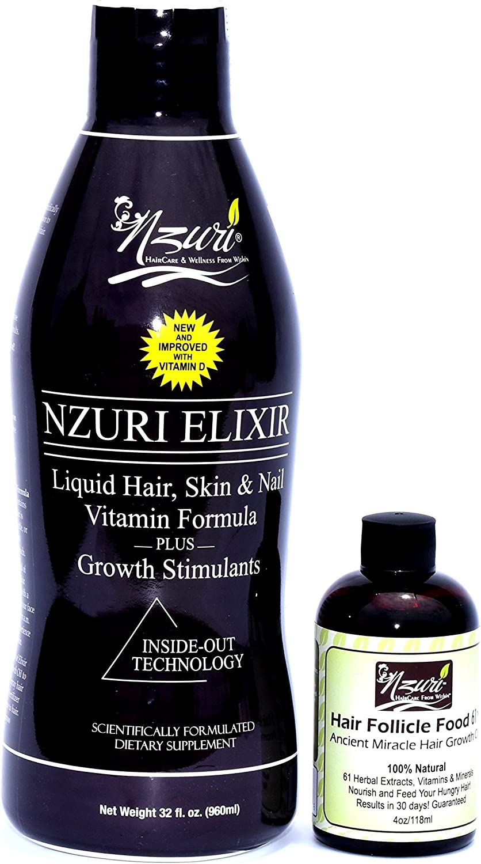 Nzuri Elixir Hair Skin and Nail with Vitamin D - 32 Oz + Nzuri Hair Follicle Food 61- Ancient Miracle Hair Growth Oil 4oz Vitamins to Make Hair Grow Long Intense Grow Long Hair Supplements Combo pack