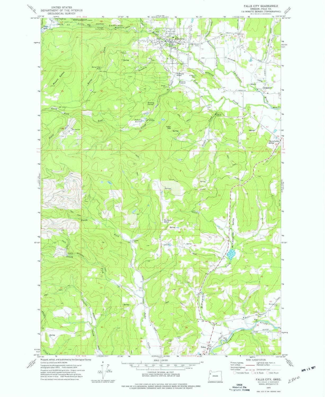 Fall City Oregon Map.Amazon Com Yellowmaps Falls City Or Topo Map 1 24000 Scale 7 5 X