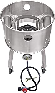 """ARC USA, 615B, 200,000 BTU High Pressure Propane Burner with Wheels, 10"""" Cast Iron Burner Head Stainless Steel Gas Stove, 0-20 PSI CSA Regulator & Hose, Perfect for Outdoor Cooking (Black Hose)"""