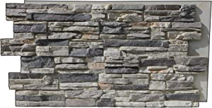 Tritan BP LR-4824-GFX Lightning Ridge Faux Stone Siding Panel, Gray Fox