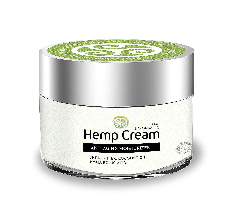 TerraBella Hemp Facial Cream – All-Natural Anti-Aging Moisturizer – Organic Topical Analgesic – Rejuvenated Skin – Premium Herbal Ingredients – Shea Butter, Coconut and Cactus Oil, Hyaluronic Acid