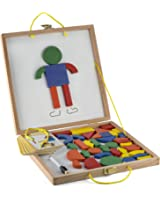 Kiddie Woods Imagination Patterns Magnetic Shapes Toy Puzzles With Dry Erase Board Game