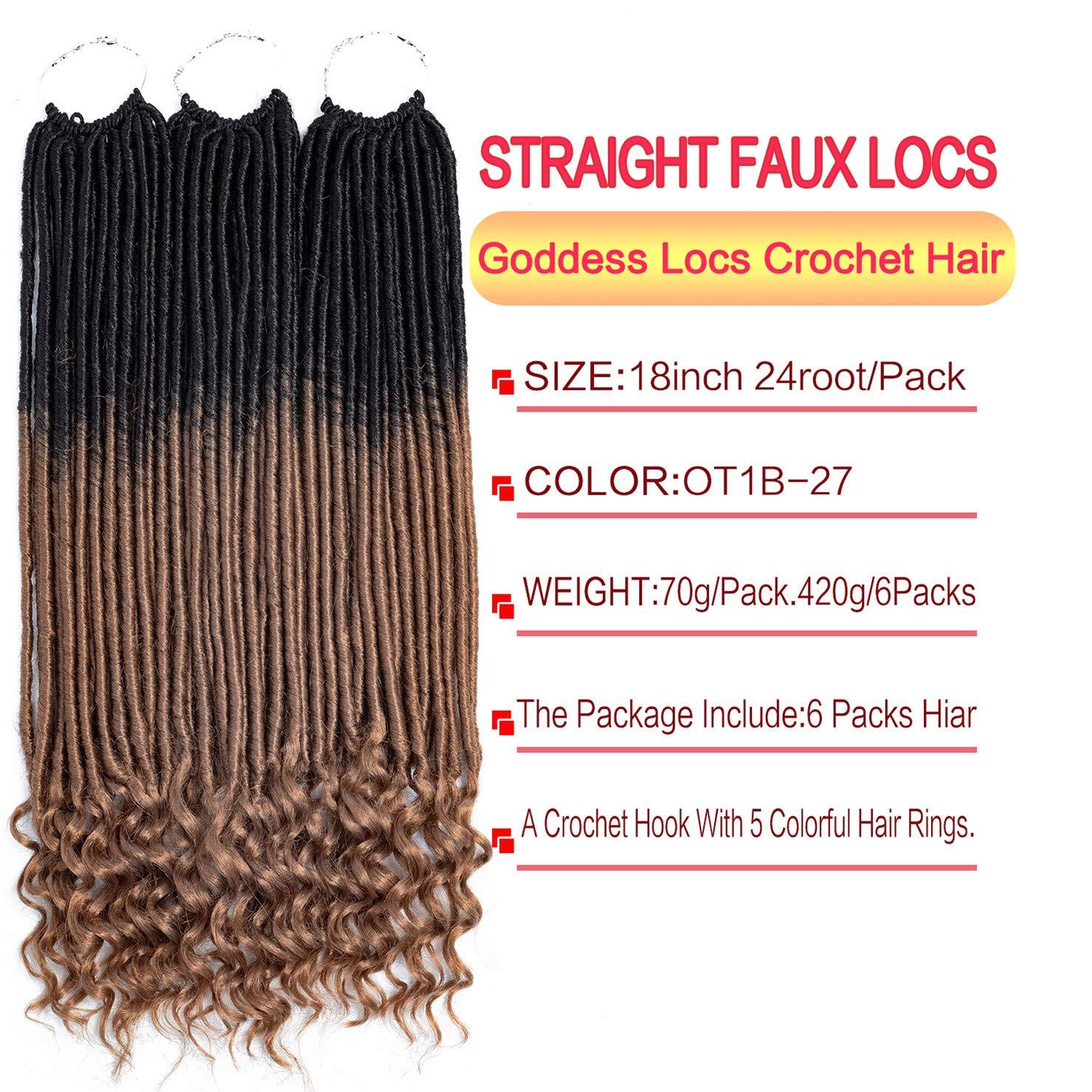 Amazon.com: 6 paquetes de 18 pulgadas Striaght Goddess Locs ...