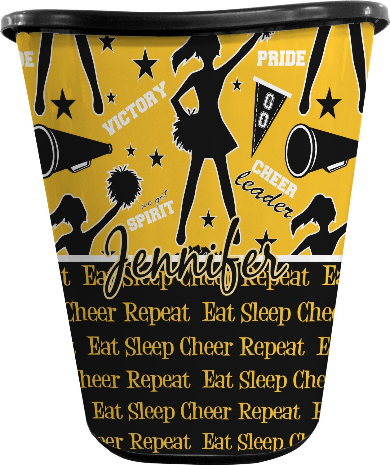 RNK Shops Cheer Waste Basket - Double Sided (Black) (Personalized)