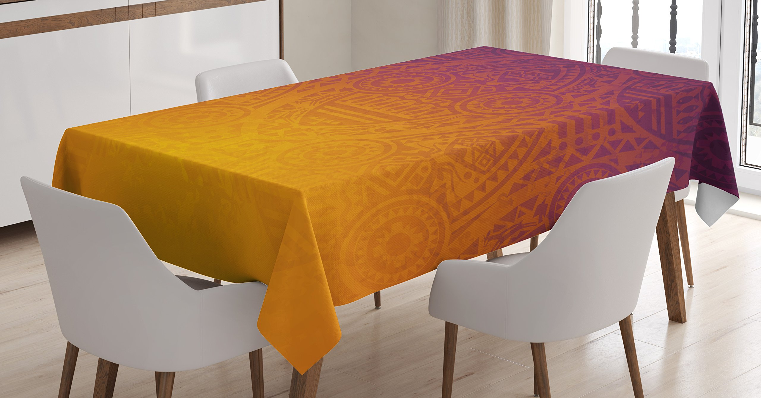 Traditional House Decor Tablecloth by Ambesonne, African Tribal Wall Motifs with Mask Ceremonial Mystical Artwork, Dining Room Kitchen Rectangular Table Cover, 52W X 70L Inches, Burnt Orange