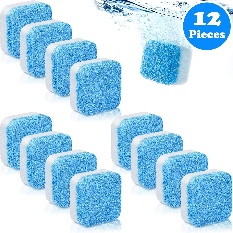 12 Piezas Limpiadores Sólidos de Lavadora Tableta Efervescente Limpiador de Lavadora Removedor de Limpieza Profunda con Descontaminación Triple para Baño Habitación Cocina